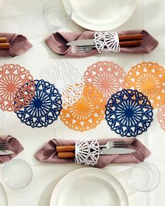 Create simple yet beautiful Thanksgiving table place-setting decor with the new doily punch kit from Martha Stewart Crafts.