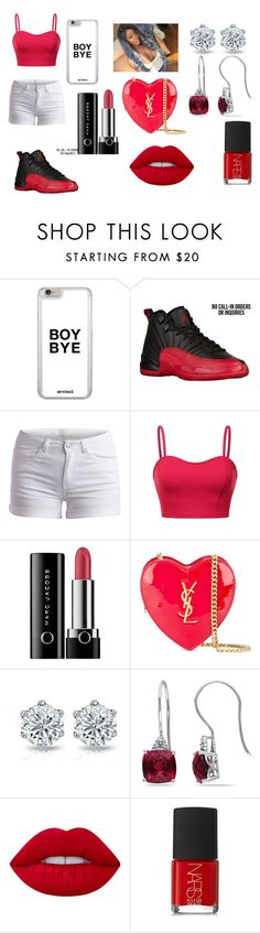 """""""Red And White"""" by breezybrebre on Polyvore featuring beauty, Pieces, Marc Jacobs, Yves Saint Laurent, Miadora, Lime Crime and NARS Cosmetics"""
