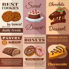 Descubre miles de vectores gratis y libres de derechos. Recursos gráficos para uso personal y comercial. Miles de archivos nuevos diariamente. Cupcake Clipart, Food Menu Design, Miniature Food, Chocolate Cookies, Gingerbread Cookies, Donuts, Bakery, Cheesecake, Cupcakes