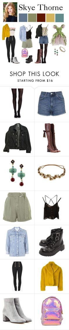 """""""The Witch Coven: Skye Thorne"""" by vampirliebling ❤ liked on Polyvore featuring SPANX, Topshop, American Apparel, Chloé, 1928, Jennifer Behr, T.U.K., Balmain, Philosophy di Alberta Ferretti and Jean-Paul Gaultier"""