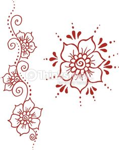 Hand-drawn illustration of henna flowers. The rendering of the henna design by hand by a professional henna artist results in a more natural and authentic feel to these graphics representing the...
