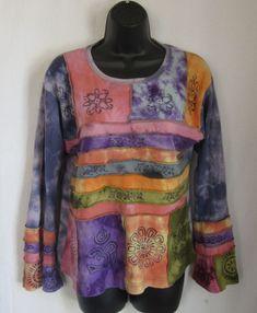 Women's Multi-Color Floral Tie-Dye Boho Hippie Top M Medium #Unbranded #KnitTop