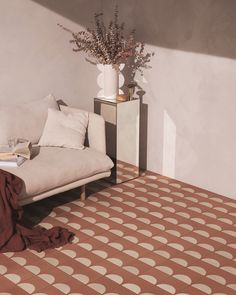 geometric tile and neutral decor styled by designer Sarah Ellison. Home Living, Living Spaces, Dog Spaces, Modern Living, Living Room, Decor Interior Design, Interior Decorating, Geometric Tiles, Floor Decor