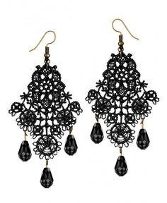 Black Lace Earrings Gothic Jewelry for Women Tassel Beads Chandelier Motif Cut Out Drop Dangle Earrings - A - # Mint Earrings, Long Tassel Earrings, Tassel Jewelry, Dangle Earrings, Mint Jewelry, Goth Jewelry, Cheap Jewelry, Jewellery, Beaded Chandelier