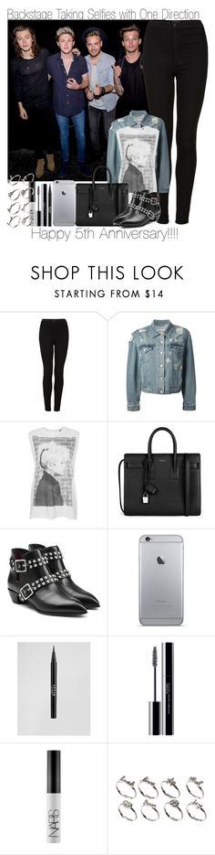 """""""Happy 5th Anniversary!!!!!! Backstage Taking Selfies with 1D (OTRA)"""" by elise-22 ❤ liked on Polyvore featuring Topshop, Acne Studios, Tee and Cake, Yves Saint Laurent, Marc by Marc Jacobs, Stila, shu uemura, NARS Cosmetics and ASOS"""