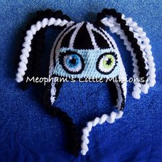 Monster High Frankie Stein inspired crochet hat. Pattern available shortly via Meopham's Little Minions on facebook