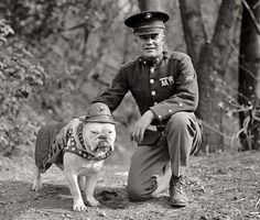 1925: Sgt. Jiggs, The Marine Corps mascot in Washington, D.C., with an actual Marine