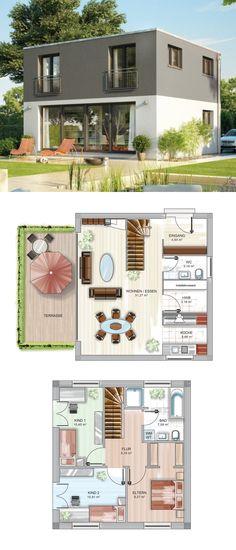 Einfamilienhaus Modern Mit Bauhaus Architektur   Fertighaus Massiv Bauen  Grundriss Haus ICON 2 Plus Cube