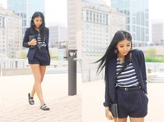 Le Tote Navy And White Striped Top, Zara Black Slide Sandals