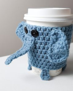 Crocheted Cuddly Elephant Coffee Cup Cozy by CuddlefishCrafts, $25.00 -- too expensive to buy... I need to figure out this pattern!!! (& learn how to crochet)