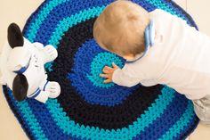 Round rug Crochet rug Handmade rug Nursery rug Blue ombre by arceb