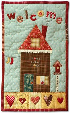 PatchworkPottery - patchwork + fused raw edge applique + buttons + ribbon + trim = too cute Crazy Quilting, Patchwork Quilting, Applique Quilts, Hand Quilting, Mini Quilts, Small Quilts, Colchas Country, Country Quilts, House Quilt Block