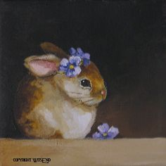 'DAINTY LITTLE VIOLET'.   painting original Rabbit and flowers by 4WitsEnd, via Etsy.  SOLD