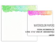 SALE Watercolor papers. Watercolor headers footers, bunting, in pastel colors by LinePush