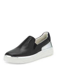 Prada Linea Rossa Slip-On Leather Sneaker, Nero/Argento Wedge Sneakers, Casual Sneakers, Leather Sneakers, Casual Shoes, Brown Spots On Face, Prada Shoes, Soft Leather, Footwear, Slip On
