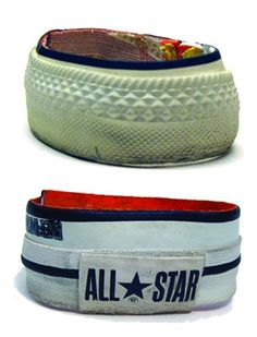 Remember the All Star craze, those high or low canvas sneakers in all colours of the rainbow, lovingly called chucks? Don't toss em - they make excellent bracelets!  Get more ideas at wasteconnectionsmemphis.com
