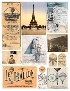 A beautiful collected assortment of French ephemera from the 1700s-1890s, including a ticket stub for a ballon ride from 1879, an 1887 menu, photographs of a 14-year-old French girl and the French countryside, a photo-postcard of the Eiffel tower, maps, advertisements, drawings, and even a patent application for a flying ship from the 1700s. #printables 24 by piddix.