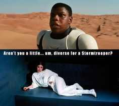 "Star Wars Episode VII - The Force Awakens stars an all-new cast of characters starting with John Boyega (Attack the Block) as a black Stormtrooper, which is peculiar because originally they were clones of Jango Fett. Of course for all we know he could just be in disguise, which is the perfect setup for an off-color joke based on Princess Leia's famous quote ""Aren't you a little short for a Stormtrooper?""…"