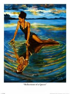 Black art prints & African American Art & Gifts A. Smith Reflections of a Queen - Open Edition Print Paper: 24 x 18 Image: 20 x 16 American Art, African, Art Painting, Female Art, Black Girl Art, Art, African American Art, Art Pictures, Beautiful Art
