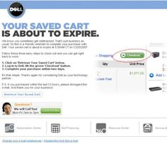 Last post we discussed cart abandonment email timing and strategies, and as promised, today we're going to examine the content of recovery emails, using examples from the Internet Retailer Dell Image credit: Marketing Sherpa Dell blends a bit of. Engagement Emails, Customer Engagement, Email Layout, E-mail Marketing, Email Templates, Email Design, E Commerce, Deconstruction, Abandoned