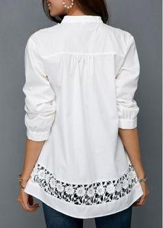 Crochet Detail Button Front Split Neck White Blouse | modlily.com - USD $29.25 Trendy Tops, Plus Size Blouses, Blouse Styles, Blue Blouse, Shirt Blouses, Tunic Tops, Jeans, Long Sleeve, Casual