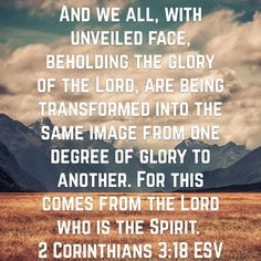 And we all, with unveiled face, beholding the glory of the Lord, are being transformed into the same image from one degree of glory to another. For this comes from the Lord who is the Spirit. 2 Corinthians 3:18 ESV http://bible.com/59/2co.3.18.ESV