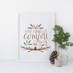 "Celebrate the holiday season with this beautiful ""good tidings of comfort and joy"" Christmas art print."