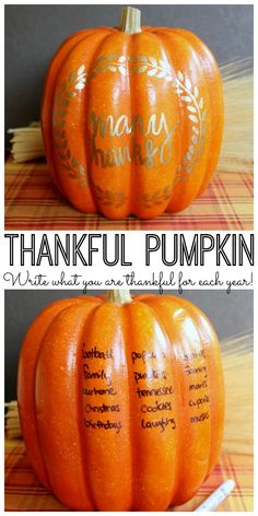 Thankful Pumpkin - A Thanksgiving Tradition