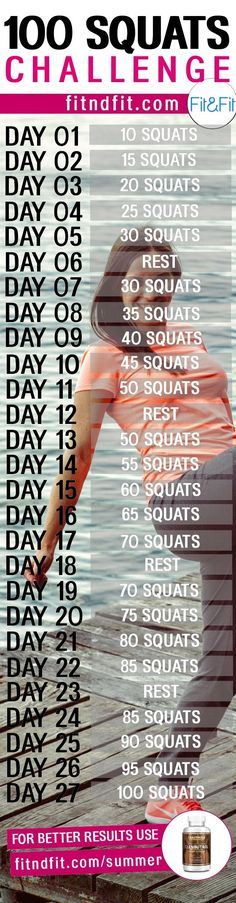 The 100 Squats Challenge! #fitness #workout #gym #bodybuilding #loseweightfast #weightloss #fatloss #squats #love #womens