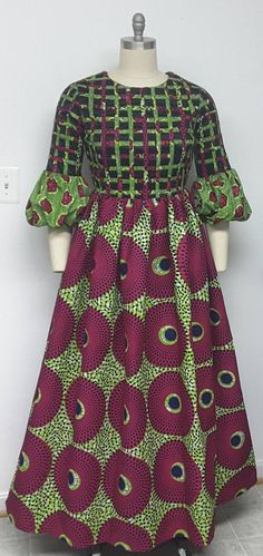 INCLUDED: • One maxi dress DETAILS: • This multi African print maxi dress is lined, lattice front bodice And sleeves with two pock • Finished length 56 and 65 inches. SIZES * US 2 – Bust 33 - Waist 24 inches - Hips 34-35 inches * US 4 -- Bust 34 - Waist 25 inches - Hips 36-37 inches