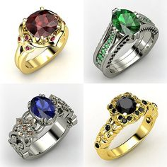 dragonfiretwisted:  Ring Design Meme  Rings inspired by the Hogwarts Houses Gryffindor,Slytherin,Ravenclaw, andHufflepuff (suggested by heavyheartedlove)(madehere)