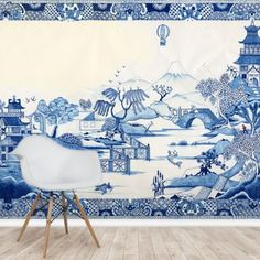 Stunning Blue Willow wall mural from Wallsauce. This high quality Blue Willow wallpaper is custom made to your dimensions. Easy to order and install. Bathroom Mural, Bedroom Murals, Wall Murals, Blue And White Wallpaper, Blue And White Rug, White Rugs, Wall Wallpaper, Pattern Wallpaper, Blue Willow China