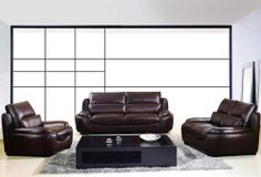 """New 3pc Contemporary Modern Leather Sofa Set #AM-235-B-BROWN by UTM. $2499.00. * All corners are """" blocked"""", nailed and glued for strength and durability. * All of the seats and backs are high density (1.9) foam to give comfort and support. * Solid wood frame use in the sofa construction. * It is made of 100% selected premium soft bonded leather. UTM 3 pcs contemporary modern leather sofa set will include ONE sofa + ONE love + ONE CHAIR. Available Colors See above pictur..."""