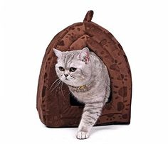 Winter Warm Cotton Bed Pet Cat House Lovely Soft Suitable Pet Cusion (Brown) * Check out this great image  : Cat House