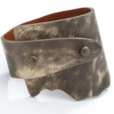Artisan Genuine Wide Wrap Luxury Leather Bangle - Light and Brown Color