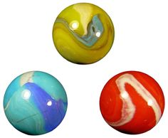 "Amazon.com: Unique & Custom {1 1/2"" Inch} Set of 3 Huge ""Round"" Opaque Marbles Made of Glass for Filling Vases, Games & Decor w/ Shiny Swirled Contemporary Primary Pallet Design [Red, Blue, & Yellow]: Home & Kitchen"
