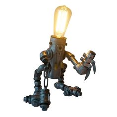 Parrotuncle+Vintage+Water+Plumbing+Pipe+Iron+Robot+Table+Desk+Lamp+Home+Decor+#ParrotUncle+#Novelty