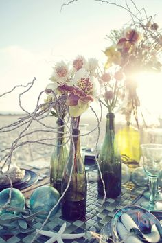 gorg. prett way to incorprate wine bottles, gives us a better reason to drink more wine..lol