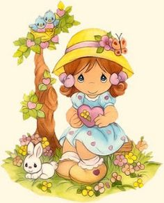 Precious Moments Little Girl With Heart Precious Moments Quotes, Precious Moments Coloring Pages, Precious Moments Figurines, Cute Images, Cute Pictures, Sarah Kay, Holly Hobbie, My Precious, Digi Stamps