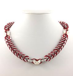 Red and White Chainmaille Necklace by AndrassidyDesigns on Etsy