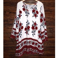 Southern Girl Fashion Dresses - SWING DRESS Floral Printed Bell Sleeve Mini Tunic