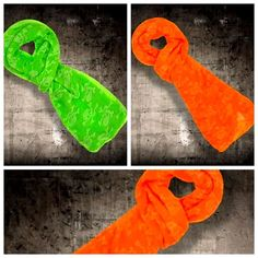 Halloween Prop Scarf Neon Orange skull & bone print scary costumes fancy dress