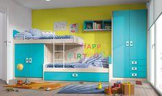 #Dormitorio juvenil de la colección Niu de #Kibuc. Acabado Nature y turquesa. Medida L455 cm