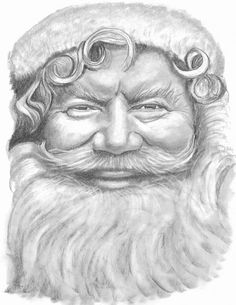 Santa Drawing  Print from Original Pencil by Ravishingimage, $15.00