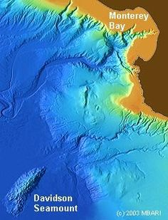 Davidson Seamount is an extinct volcano located about 75 miles (120 kilometers) southwest of Monterey Bay, California.