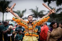 A Hindu devotee festooned with spikes, lime, coconuts, fruits and flowers takes part in the Thaipoosam Kavady festival at Shree Emperumal Temple, in Mount Edgecombe, South Africa. (Rajesh Jantilal / AFP / Getty) https://pow.photos/2018/international-pow-30-january-5-february/