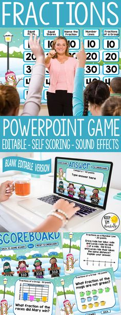 This Jeopardy Style PowerPoint game show is perfect for reviewing and assessing fractions for students in 2nd and 3rd grade. Questions cover equal parts,equal parts of a fraction, name the fraction, fractions on a number line, and fractions of a group. Students love the game show format. Best of all, there is an editable version where you can write questions for any subject. Also includes a camping theme version of the game to play later in the year. #jeopardygameshow, #fractions,