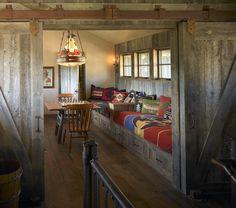 Rustic Traditional Guest Room Design Photo by Bruce Kading Interior Design Album - Wyoming Getaway, Bunk Room