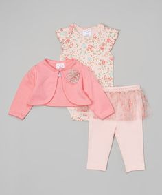 Another great find on #zulily! Pink Floral Shrug Set - Infant by Laura Ashley Baby #zulilyfinds