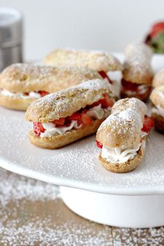 strawberries and cream eclairs we sub the whipped cream with creme ...